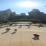 Looking into the mirrored bean at Chicago's Millennium Park